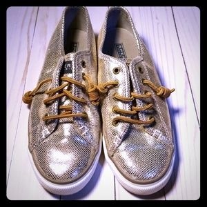 Gold Sperry Top Sliders slip on tennis shoes